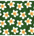many plumeria and leaves background seamless vector image vector image