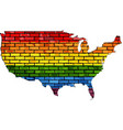 map of usa in colors of lgbt vector image vector image