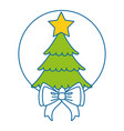 merry christmas pine tree with bow vector image vector image