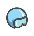 military flight helmet icon cartoon vector image vector image