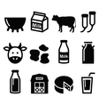 Milk cheese production cow icons set vector image vector image