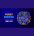 money neon banner design vector image vector image