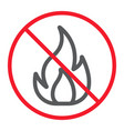 no fire line icon prohibition and forbidden vector image vector image