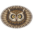 Ornamental Owl Head3 vector image vector image