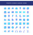 photo video filled outline icon set vol1 vector image vector image