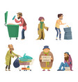 poor and homeless adults people characters vector image