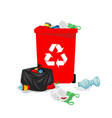 red recycle bin full of trash image vector image