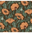 retro pattern red poppies vector image vector image