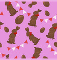 seamless pattern with chocolate bunnies eggs vector image vector image