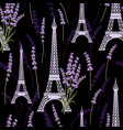 seamless pattern with lavender flowers and eiffel vector image vector image