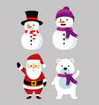 set nowmen with now bear and santa claus vector image vector image