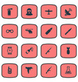 set of 16 simple military icons can be found such vector image vector image