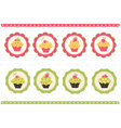 Set of cakes stickers vector image vector image