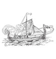 skidbladner the magic ship vintage vector image vector image
