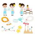 songkran or thai water festival elements vector image