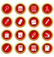 stationery symbols icon red circle set vector image