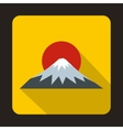 The sacred mountain of Fuji Japan icon flat style vector image