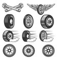 tire service set car tires isolated on white vector image