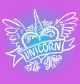 unicorn heart with wings logo vector image vector image