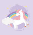 unicorn rainbow clouds stars ornament fantasy vector image vector image
