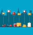 vehicles and set icons for logistic service vector image vector image