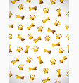 vertical card pattern with gold paws and bones vector image vector image