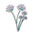 watercolor silhouette of hand drawing lilac daisy vector image vector image