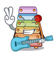 with guitar colorful toy xylophone on mallets vector image vector image