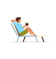 young man lying on sun lounger holding coconut vector image