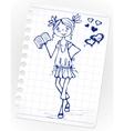 hand drawn fashion girl vector image