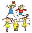 boys and girls playing outdoors vector image