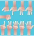 set of hands counting zero to nine vector image