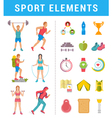 Set Sport People with Icons and Elements vector image