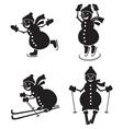 Snowmen sportsmen vector image