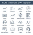 16 graph icons vector image vector image