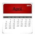 2013 calendar April vector image vector image