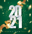 2021 green happy new year background vector image
