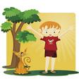 a boy with a kitten vector image vector image