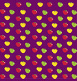 abstract pattern with cartoon apples on purple vector image vector image
