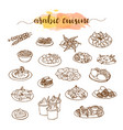 arabic cuisine traditional food set vector image