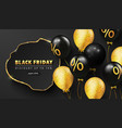 black friday luxury background with golden frame vector image