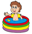 boy in inflatable pool vector image