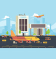 cargo plane on runway warehouse aircraft vector image vector image