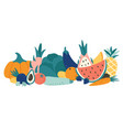 cartoon organic food vegetables and fruits vector image