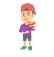 caucasian boy eating tasty pizza vector image