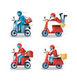 courier men of logistic service in motorcycle vector image vector image