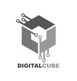 cube digital technology logo icon template vector image