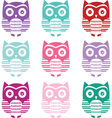 cute owl silhouette collections vector image