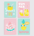 cute set bright summer cards vector image