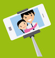 dad and daughter become a selfie vector image vector image